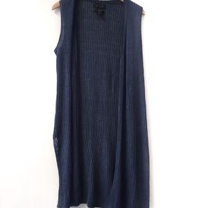 Tahari Long Blue Open sleeveless cardigan linen L